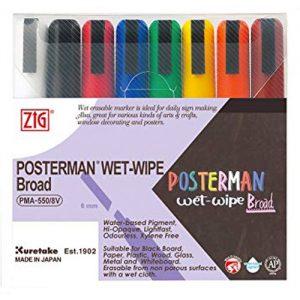 Kuretake Zig Posterman Wet Wipe Pens